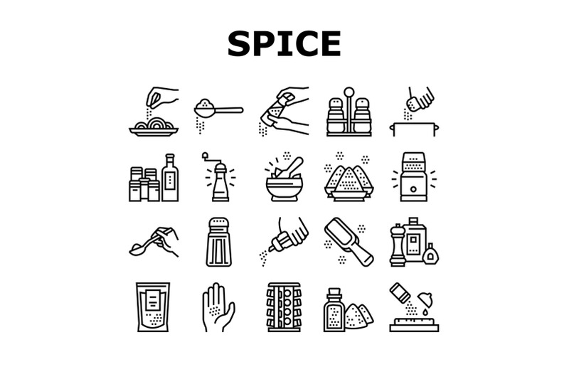 spice-condiment-herb-collection-icons-set-vector