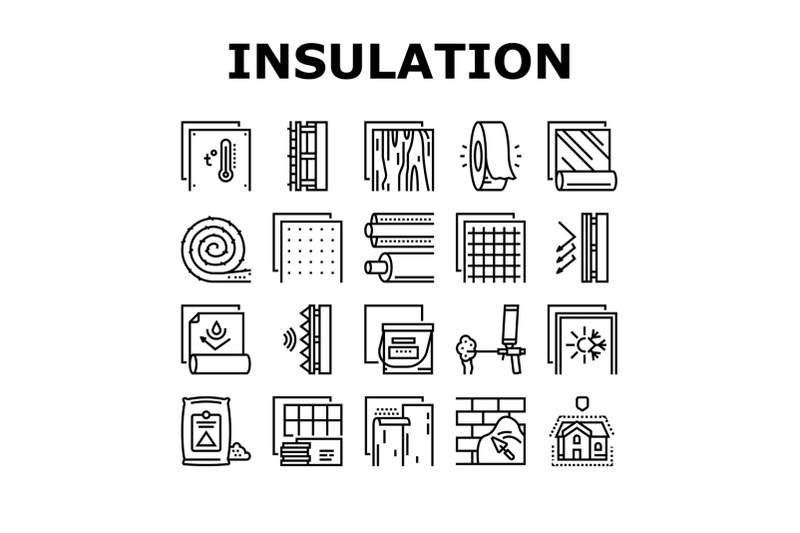 insulation-building-collection-icons-set-vector