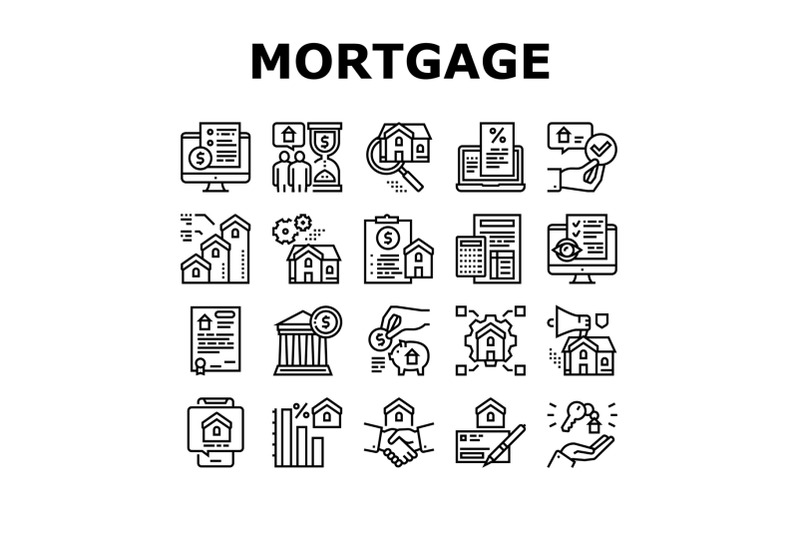 mortgage-real-estate-collection-icons-set-vector