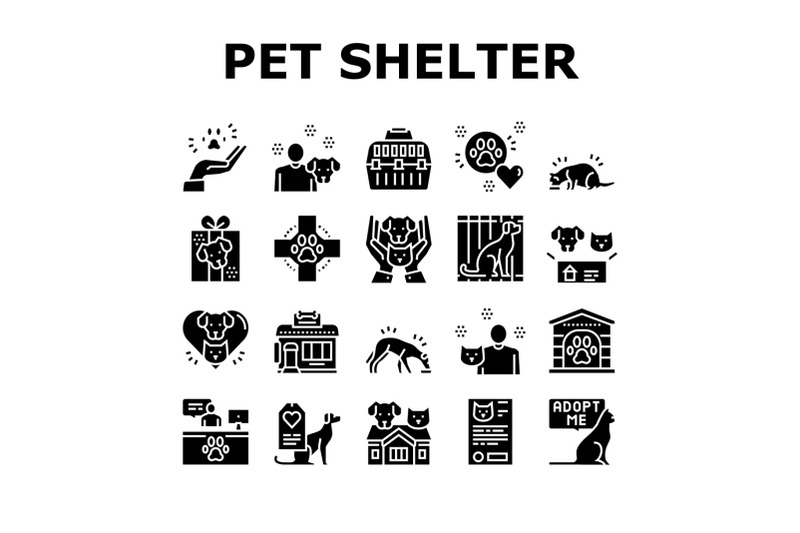 animal-pet-shelter-collection-icons-set-vector