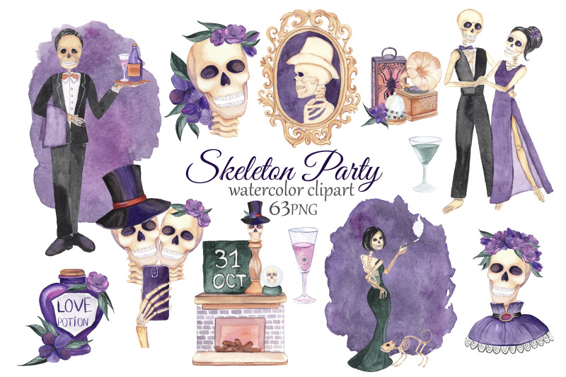 skeleton-clipart-halloween-party-watercolor-skull-clipart-halloween