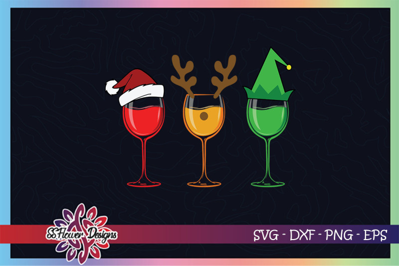 christmas-wine-svg-wine-glasses-svg-christmas-wine-with-hat-svg