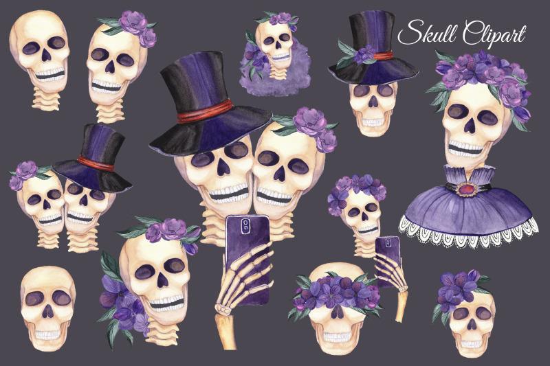 skull-clipart-watercolor-skulls-with-flowers-selfie-clipart-hallowe