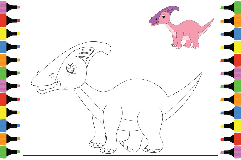 coloring-dinosaur-for-kids-simple-vector-illustration