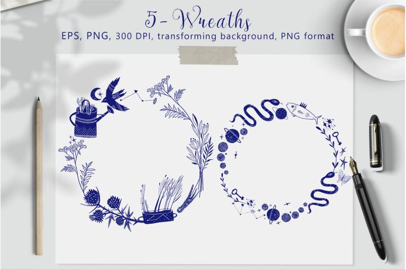 magic-logo-frames-and-wreaths-set