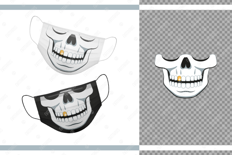 funny-skull-design-with-gold-tooth-for-protective-face-mask