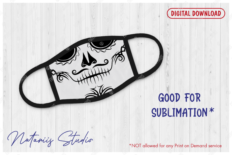 elegant-sugar-skull-design-with-tribal-pattern-for-face-mask