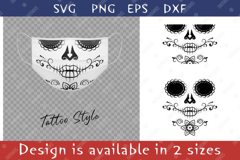 elegant-sugar-skull-design-with-floral-pattern-for-face-mask