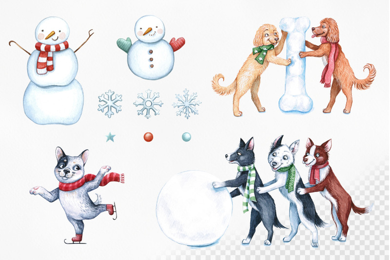 watercolor-christmas-illustrations-dogs-christmas