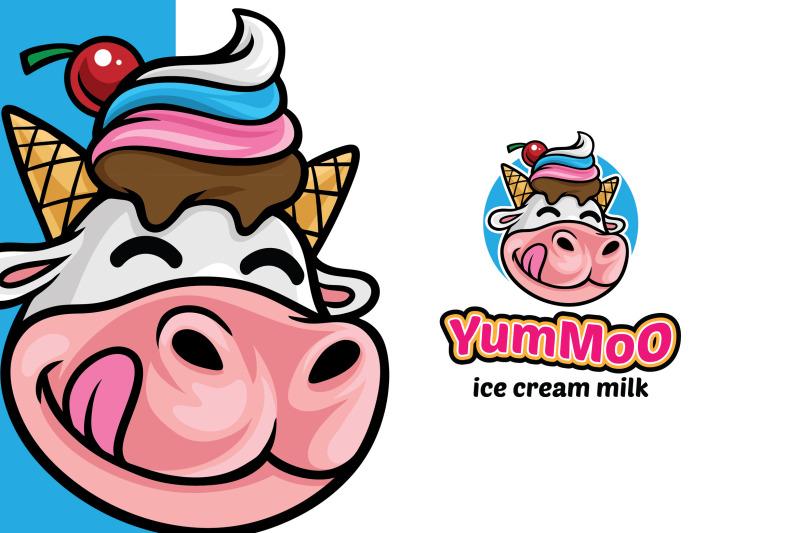 ice-cream-cow-logo-template