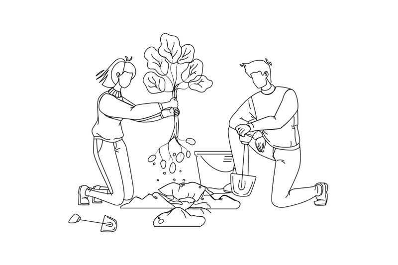 man-and-woman-volunteering-planting-tree-vector
