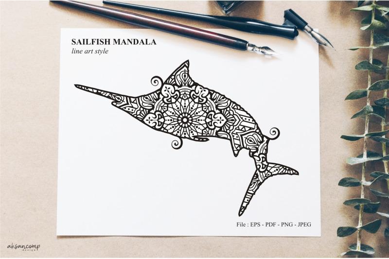 sailfish-mandala-vector-line-art-style