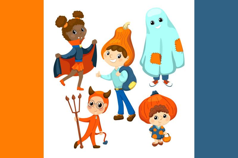 cute-kids-in-halloween-costume-vector-clipart