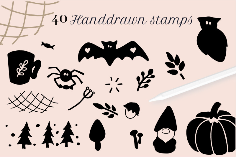 halloween-stamps-for-procreate-hand-drawn-cute-procreate-brushes-for