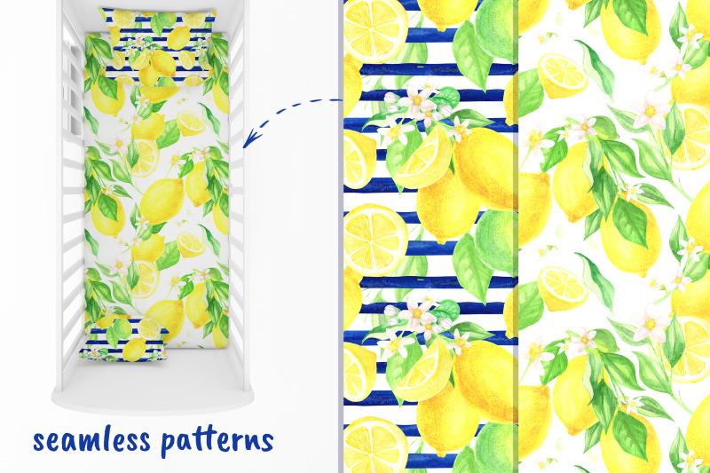 lemon-digital-paper-watercolor-seamless-patterns