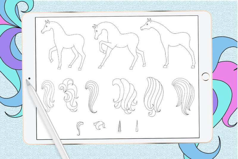 unicorn-procreate-stamp-brushes