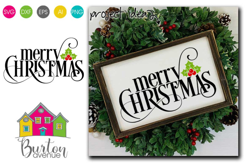 merry-christmas-with-holly-berry-svg-christmas-svg-file