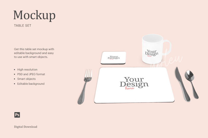 Download Dining Placemat Set Mockup | Compatible With Affinity Designer Free Mockups