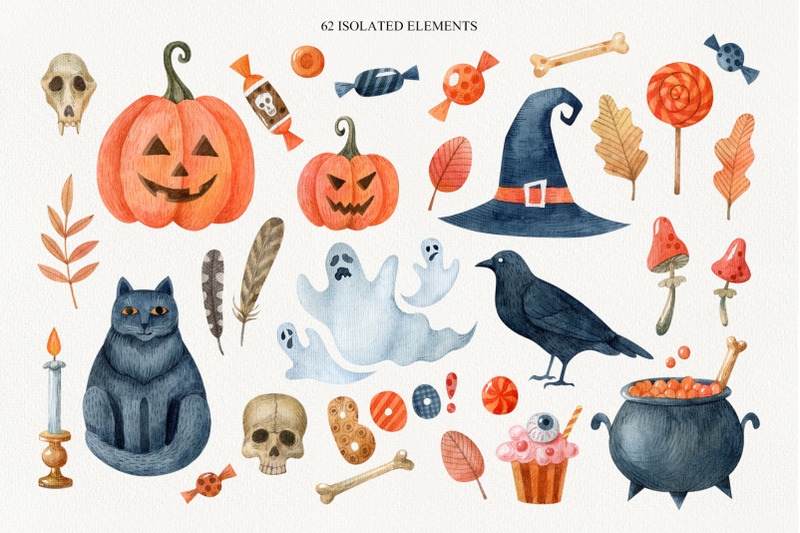 happy-halloween-watercolor-set