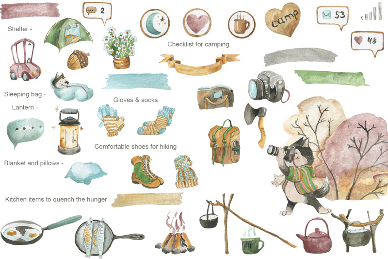 camping-set-of-watercolor-elements
