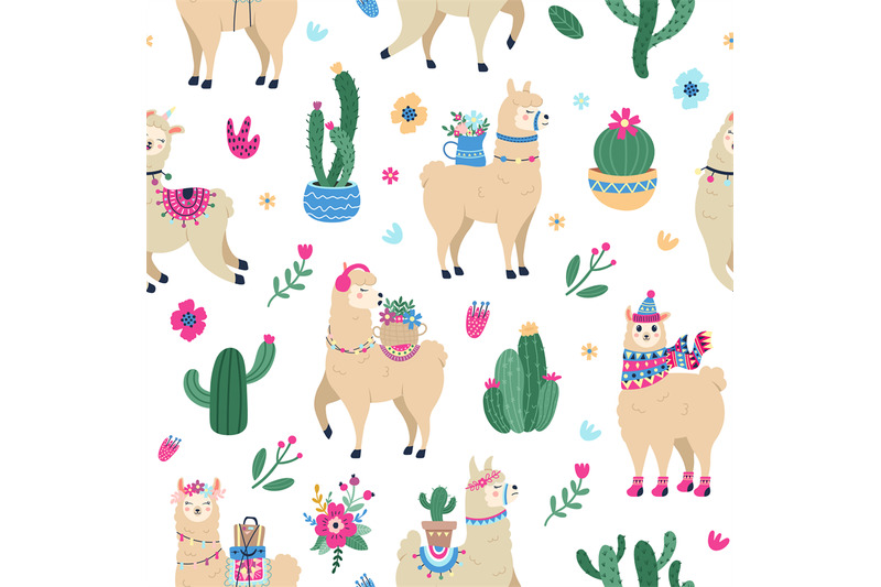 llama-and-cactus-pattern-cute-seamless-hand-drawn-mexican-alpaca-with