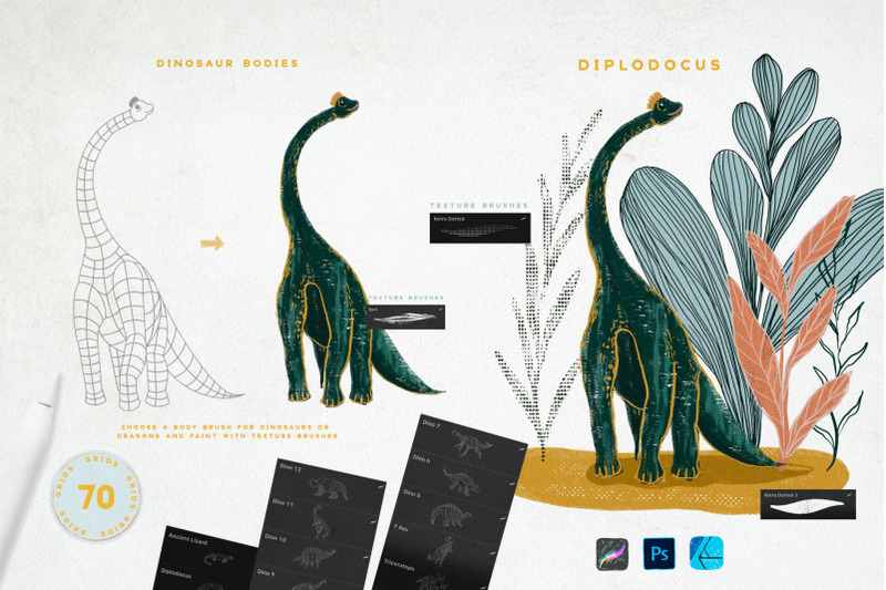 dragon-amp-dino-grids-for-procreate