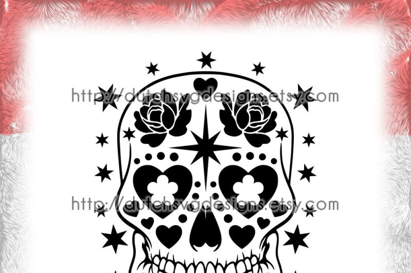 Sugar Skull Cutting File In Jpg Png Svg Eps Dxf For Cricut