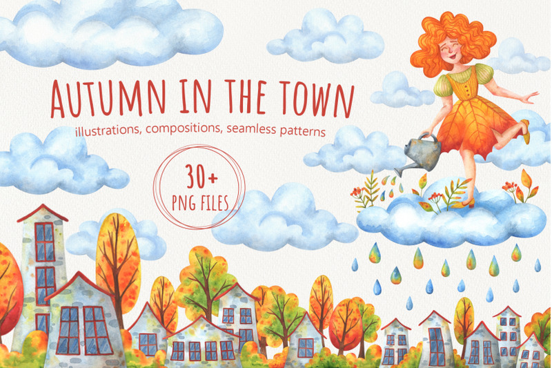 autumn-in-the-town-watercolor-collection