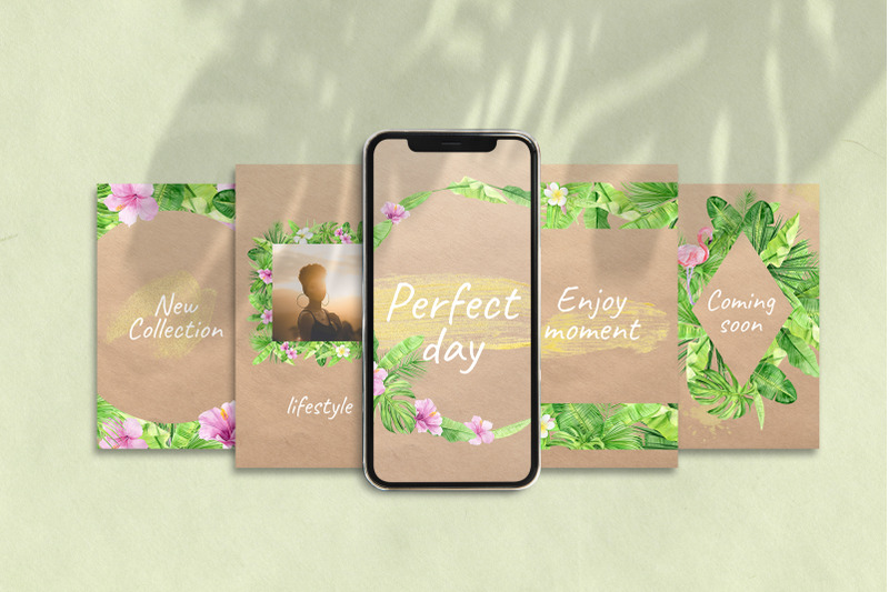 tropical-instagram-template-stories-posts-and-highlights