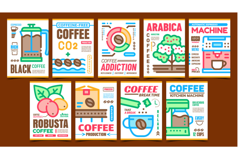 coffee-production-advertising-posters-set-vector
