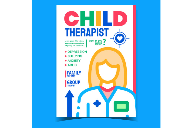 child-therapist-creative-advertising-banner-vector