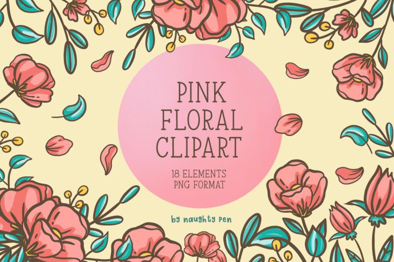pink-floral-clipart-set