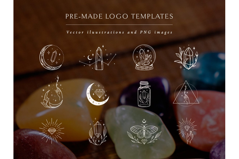 white-logo-elements-with-gemstones-decorative-flowers-branches-moon