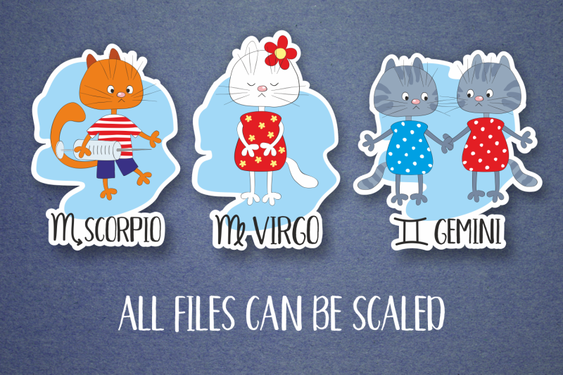 zodiac-with-funny-cats-stickers-set