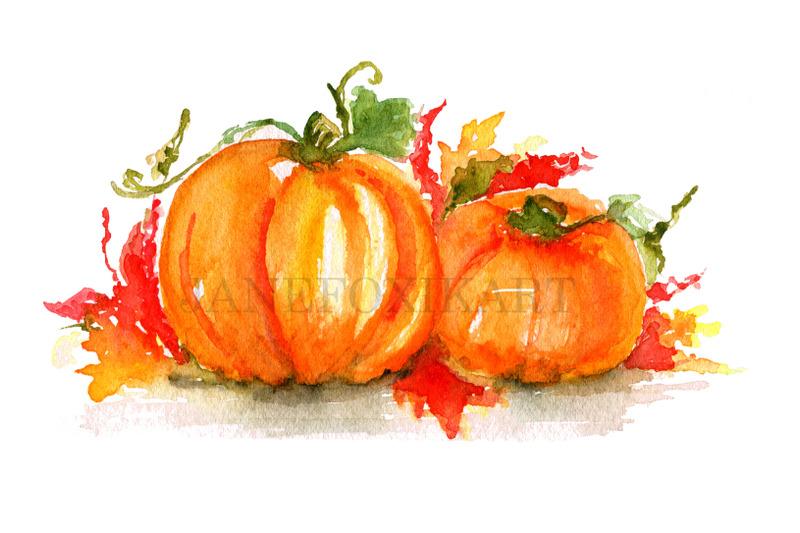 bright-pumpkins-watercolor-painting