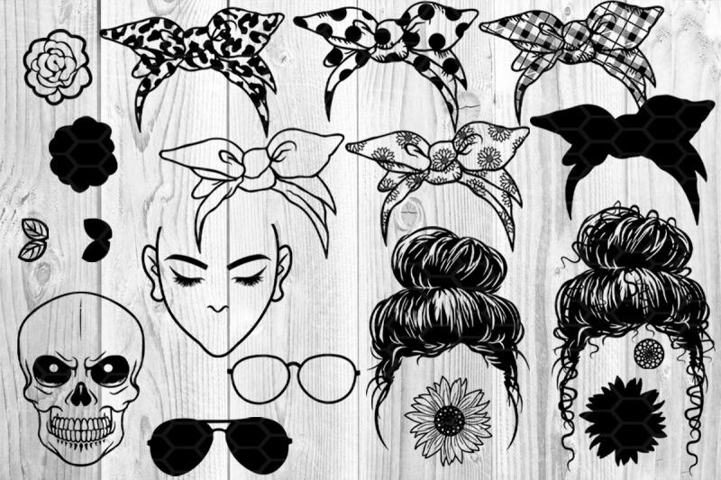 Messy Bun Bandana Mom Life Svg Clip Art By Mandala Creator