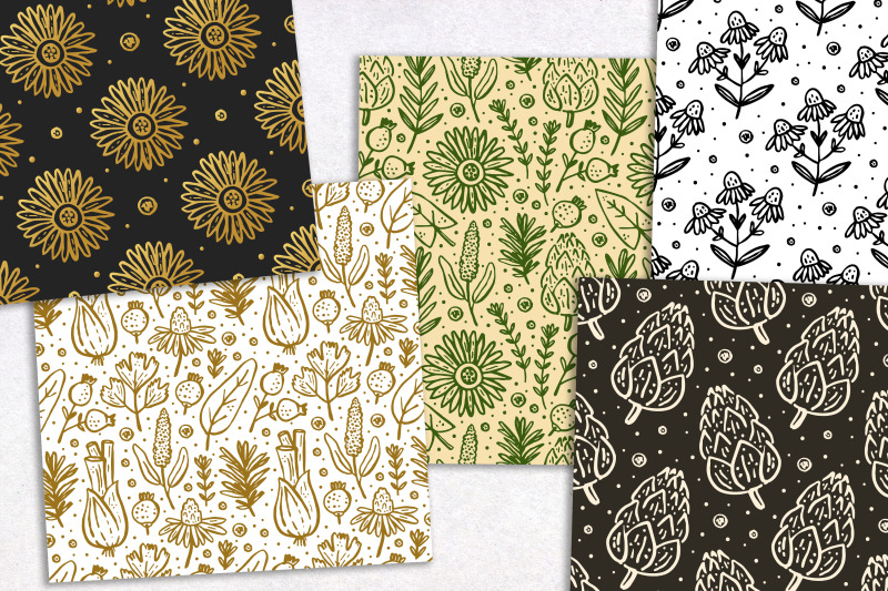 ink-herbs-plants-digital-paper-seamless-pattern