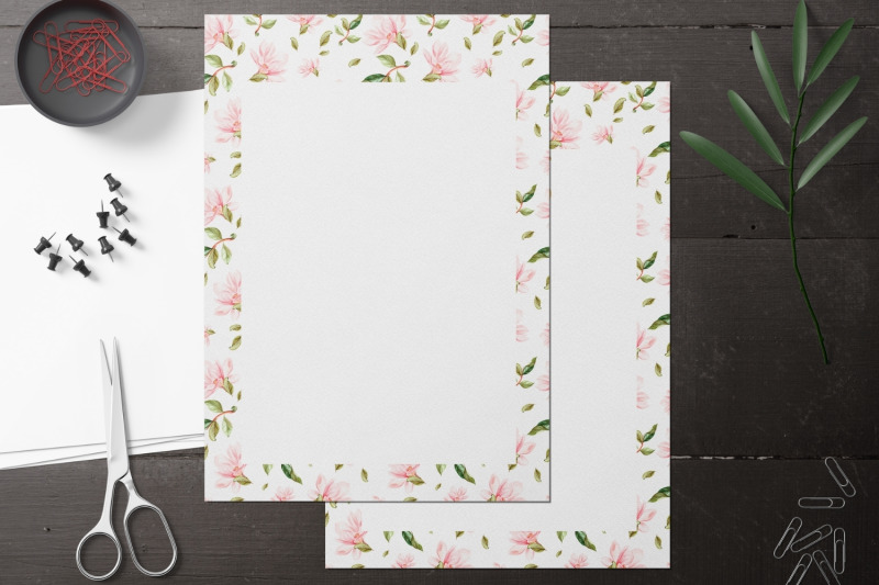 watercolor-magnolia-stationery-set