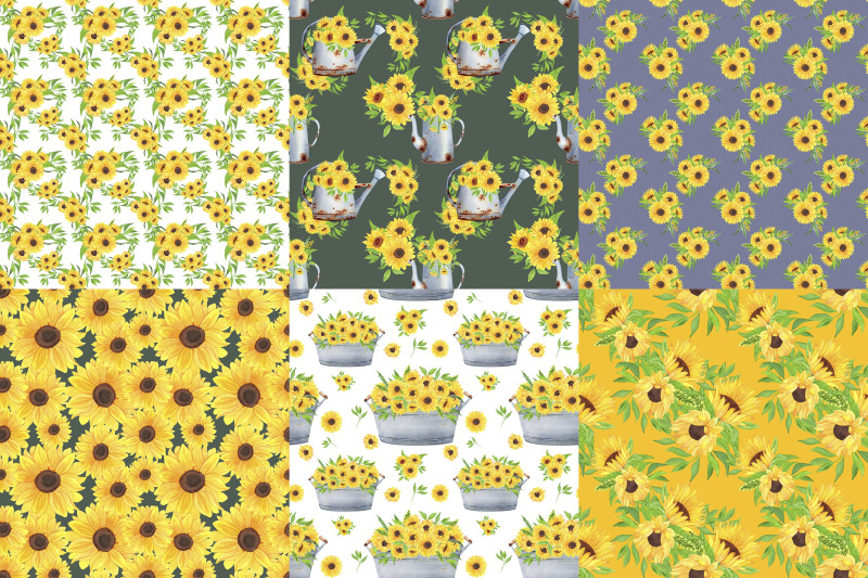 sunflowers-digital-paper-pack