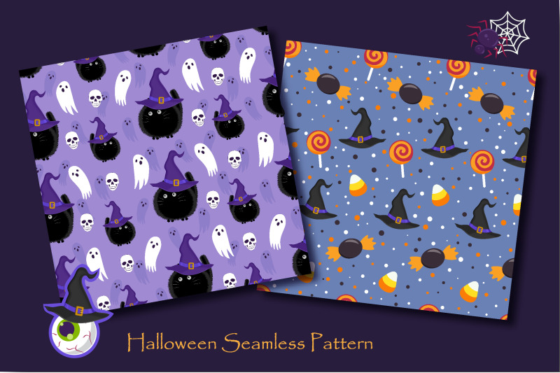 halloween-witch-cat-and-ghost-seamless-pattern