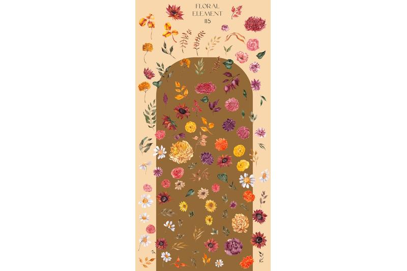 autumn-botanical-watercolor-floral-collection