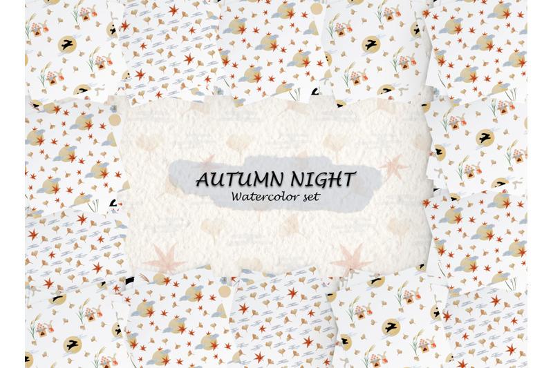 watercolor-pattern-set-of-japan-autumn-night