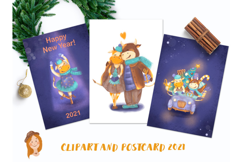 new-year-039-s-cards-and-cliparts-with-funny-cows-and-bulls-clipart-with