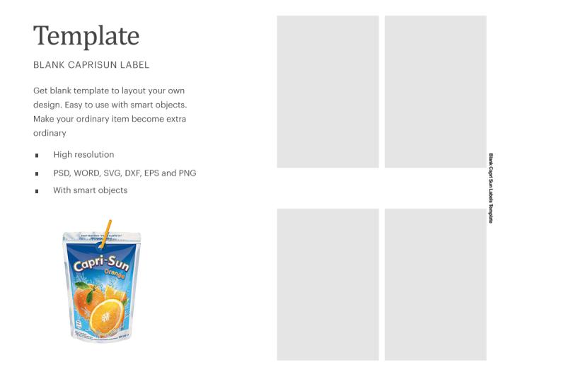 Download Capri Sun Label Template | Compatible With Silhouette Studio Free Mockups