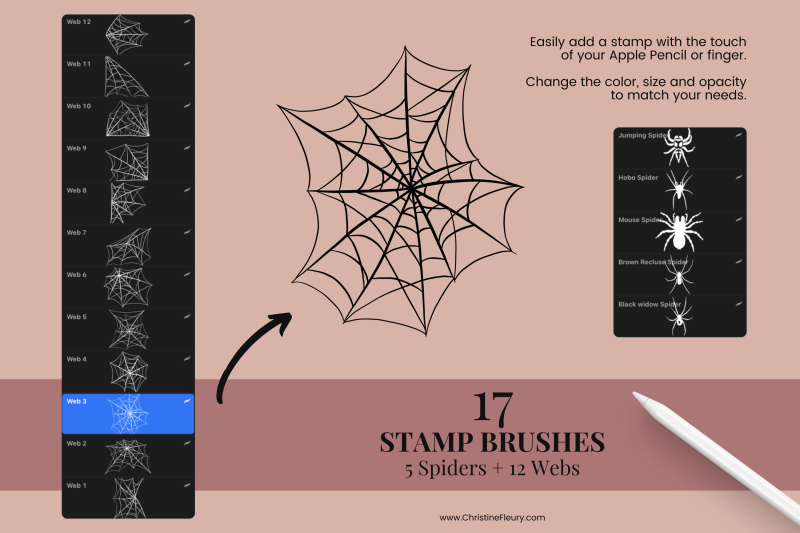 spiders-and-webs-stamp-brushes-for-procreate