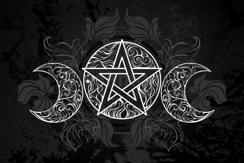 white-pentagram-with-leaves