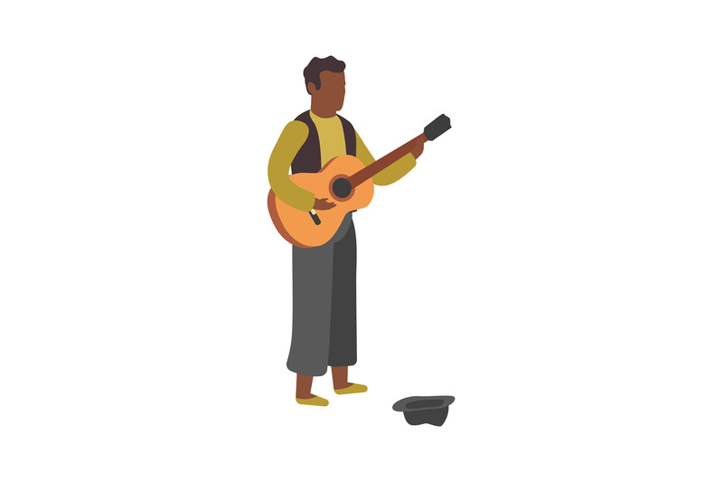 man-plays-guitar-on-street-busker-performance-boy-stands-with-hat-an