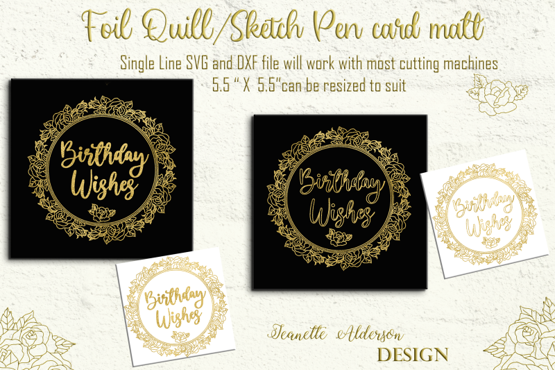 single-line-foil-quill-sketch-pen-rose-wreath-with-greeting