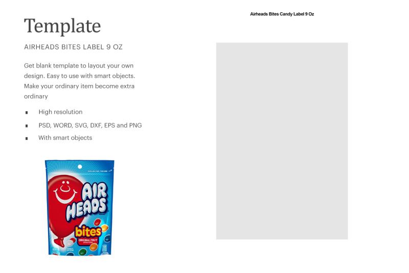 Download Airheads Bites Candy Label 9oz| Compatible With Silhouette Studio Free Mockups
