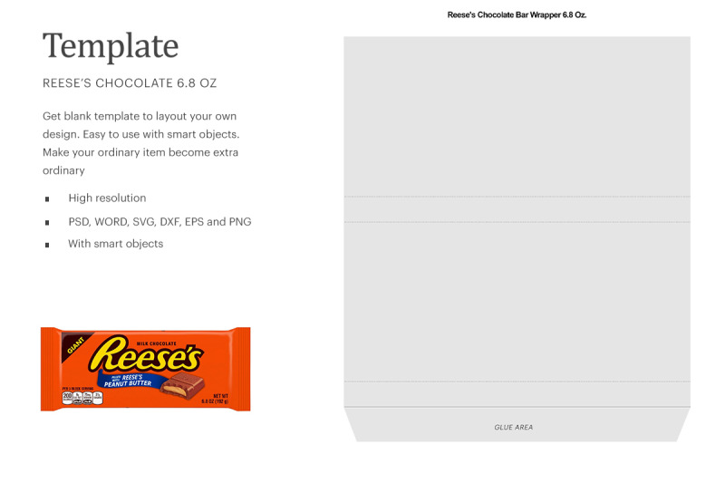 Download Reese's Chocolate Bar Wrapper 6.8oz Free Mockups